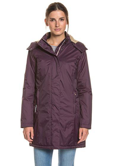 GEOX Übergangs-Jacke gerader Damen Mantel mit Stehkragen Lila