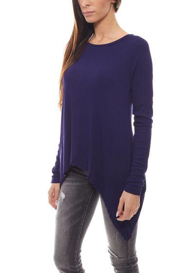 FUNKY BUDDHA Damen Langarm-Shirt lockeres Rippstrick-Shirt im Zipfel-Look Royal Blau