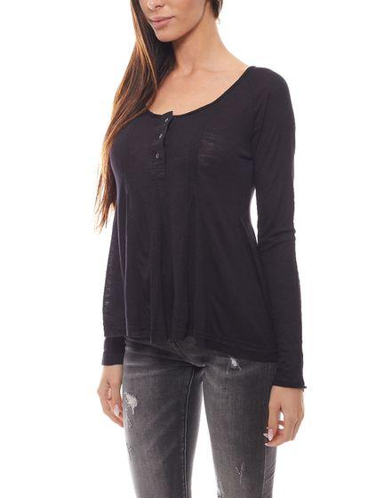 FUNKY BUDDHA Ladies Long Sleeve Shirt slightly transparent shirt black
