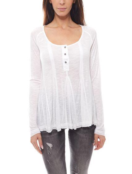FUNKY BUDDHA Langarm-Shirt schlichtes Damen Shirt Weiß