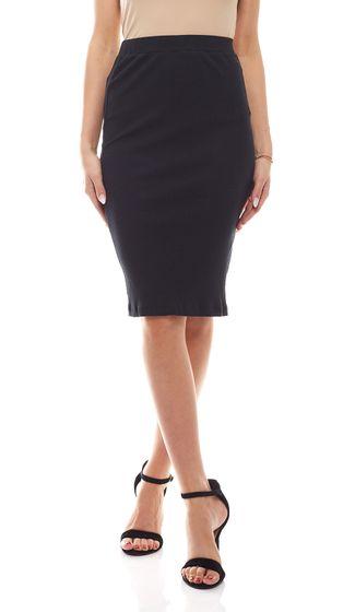 FUNKY BUDDHA Ribbed Skirt Knee Length Pencil Skirt High Waist Black