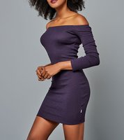 FUNKY BUDDHA Mini Rippstrick-Kleid sexy Off-Shoulder-Kleid Violett 001