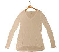 FUNKY BUDDHA Damen Langarm-Shirt trendiges Vokuhila-Shirt Weiß 001