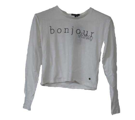 FUNKY BUDDHA Langarm-Shirt kurzer Damen Sweater Weiß