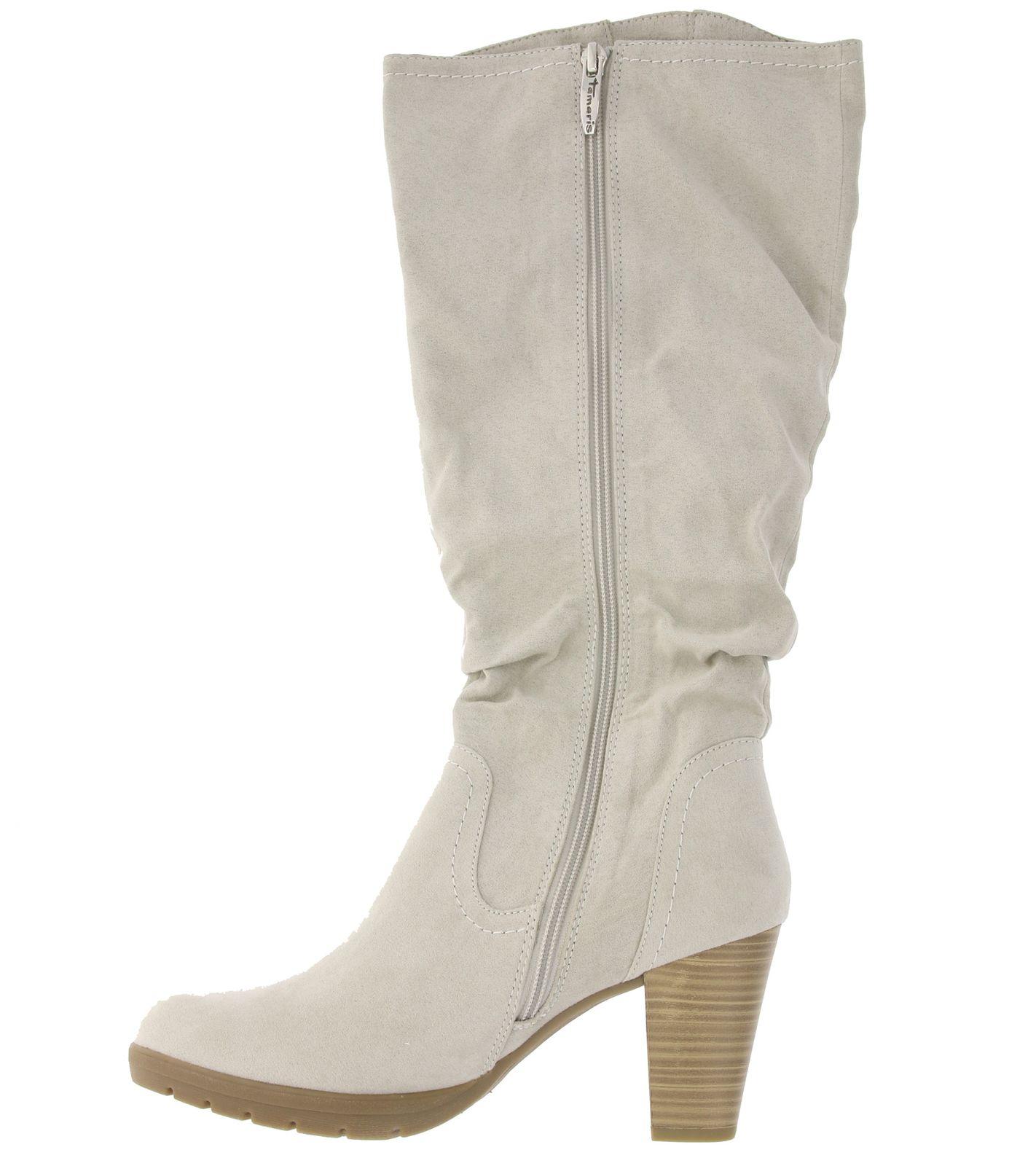 size 40 3655c e3095 Tamaris Schuhe Schaft-Stiefel hohe Damen Stiefel in Wildleder-Optik Hellgrau