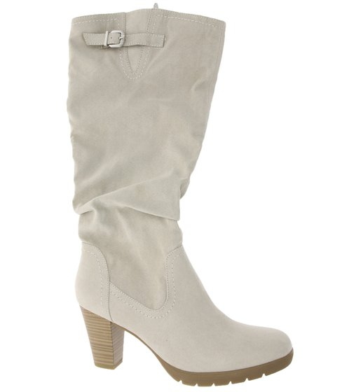 Tamaris Shank Boots High Womens Boots in Suede Look Light Gray