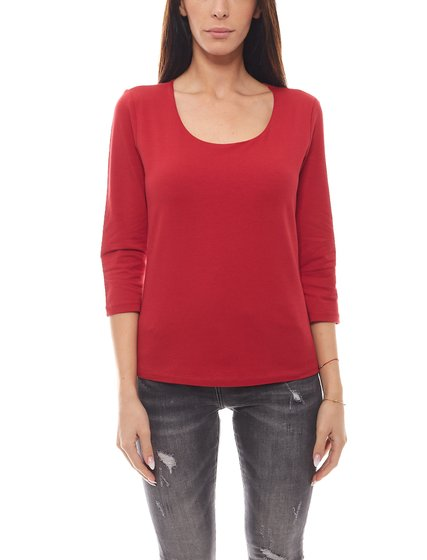 Eddie Bauer Damen 3/4-Arm T-Shirt bequemes Basic-Shirt Rot