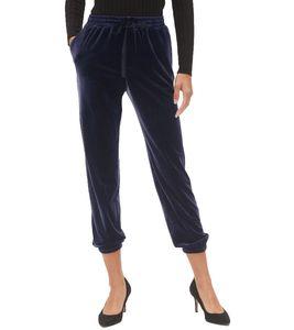 NA-KD x Vanessa Moe Sweat-Pants elegante Damen Samt-Jogginghose Navy