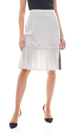 NA-KD x Qontrast Ruffle Skirt Glittering Womens Stretch Skirt Silver
