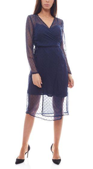 NA-KD x Qontrast Wrap Dress Robe transparente à pois pour femme bleu