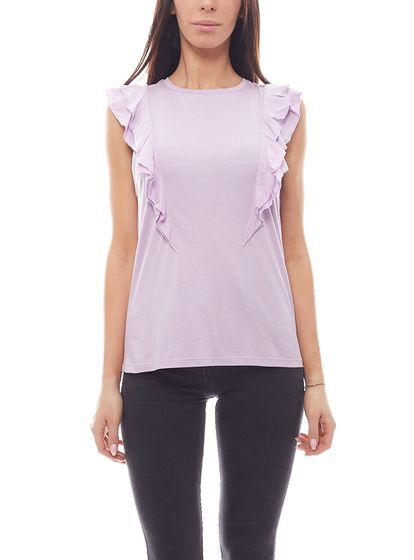 NA-KD Jersey-Shirt elastic ladies shirt with ruffle trim purple