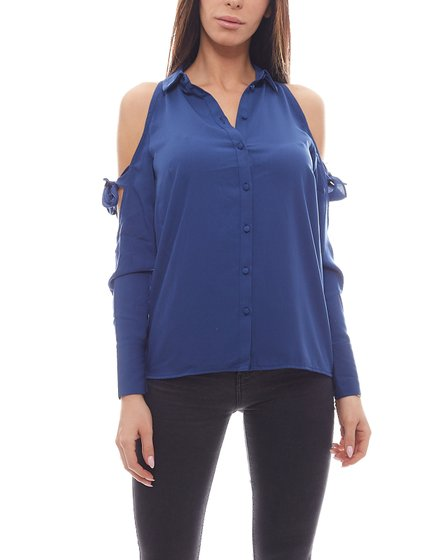 NA-KD x THERESE LINDGREN Cut-Out Bluse klassisches Damen Shirt Blau