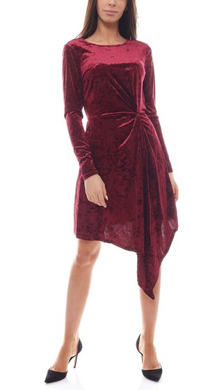 NA-KD x THERESE LINDGREN Velvet dress asymmetrical ladies dress purple