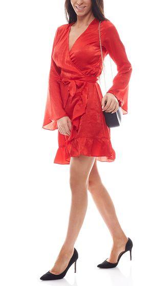 NA-KD x Qontrast Wickel-Kleid verführerisches Damen Satin-Kleid Rot
