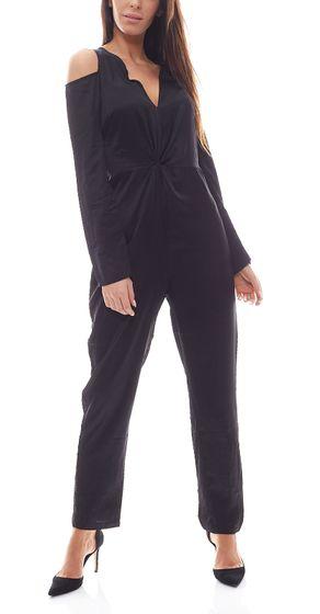 NA-KD x Combinaison-pantalon Hanna Licious - Une pièce pour femme élégante avec découpes - Noir