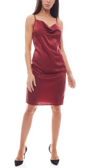 NA-KD mini robe robe de soirée pour femme brillante avec encolure cascade bordeaux
