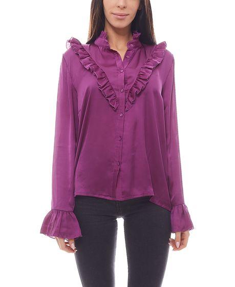 NA-KD Satin-Bluse elegante Damen Rüschen-Bluse Violett