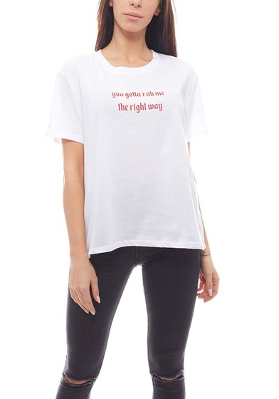 NA-KD Basic-Shirt oversized Damen Kurzarm-Shirt You Gotta Rub Me Tee Weiß