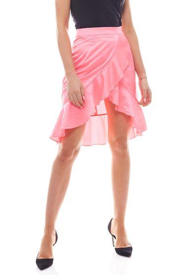 NA-KD Neon-skirt feminine womens mini skirt with ruffles Pink