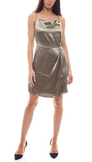 NA-KD Robe métallisée Robe de cocktail pour femme avec bretelles croisées olive