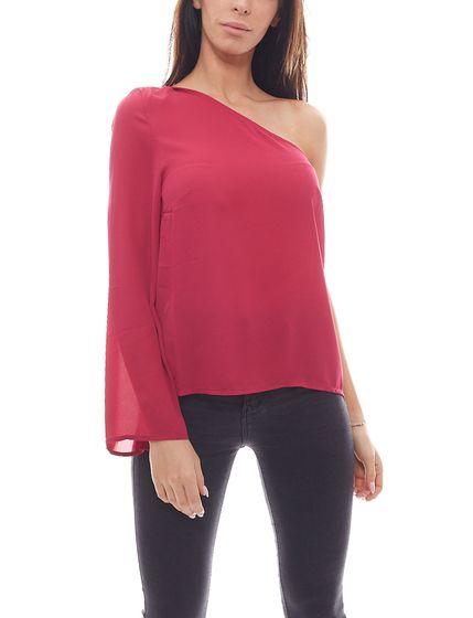NA-KD x Chemise asymétrique Qontrast avec chemise à la mode pour femme avec noeud à nouer rose