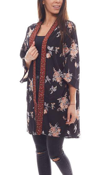 NA-KD x Qontrast Kimono geblümter Damen Cardigan Schwarz