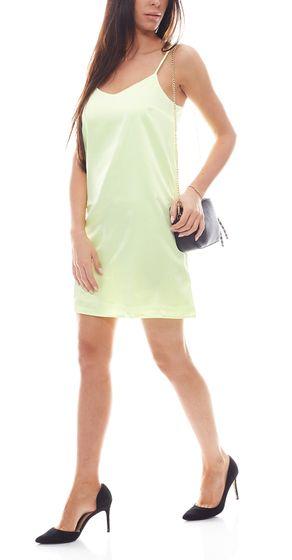 NA-KD Fashion Neon-Kleid kurzes Damen Kleid in Satin-Optik Grün