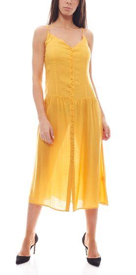 NA-KD Fashion x Qontrast Midi-Kleid lockeres Damen Kleid mit Knopfleiste Gelb
