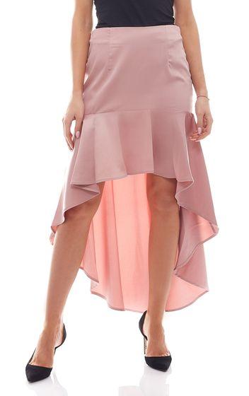 Mini-jupe NA-KD x Qontrast en jupe asymétrique à volants pour femme style Vokuhila rose