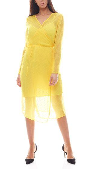 NA-KD Fashion x Qontrast Wickel-Kleid durchsichtiges Damen Pünktchen-Kleid Gelb