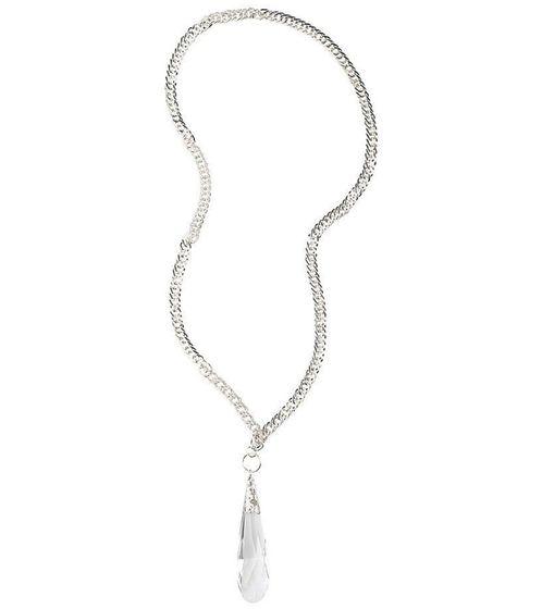 sheego Damen Kette verspielte Halskette mit Anhänger aus gebürstetem Glas Silber