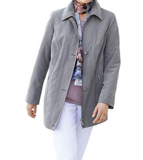 AproductZ Micro-Moss Jacke weiche Damen Übergangs-Jacke Kurzgröße Grau