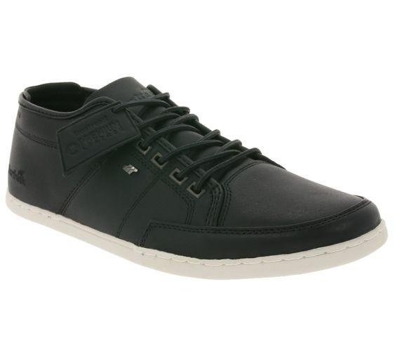 Boxfresh Schuhe robuster Herren Echtleder Sneaker mit Kontrastsohle Schwarz