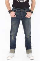 King Kerosin Farmer Destroyed Coffee-Look Herren Jeans Blau