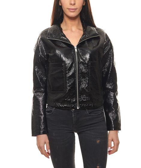 AjC jacket shiny ladies patent leather imitation leather jacket with stowable hood black