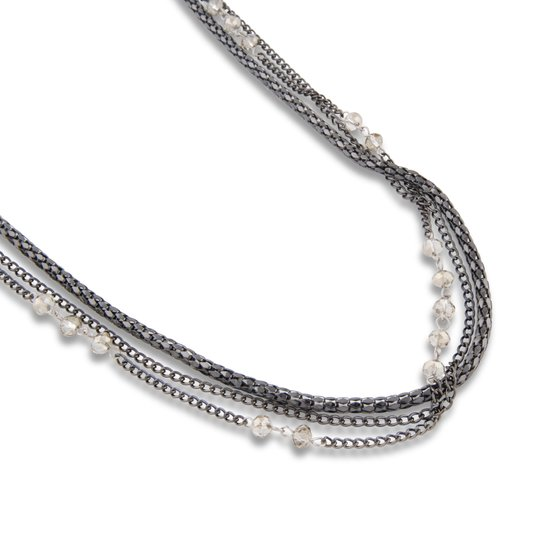 PEARLS FOR GIRLS necklace 3-ply ladies glass crystal necklace anthracite