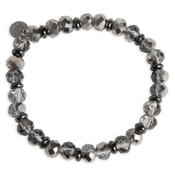 PEARLS FOR GIRLS Fashion jewelry sparkling ladies bracelet with glass beads anthracite