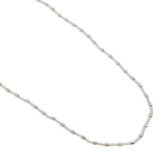 Collier PEARLS FOR GIRLS - Collier Casual Femme avec Perles de Verre Blanc  Argent