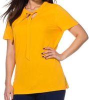 sheego Shirt modische feminines Damen T-Shirt Große Größen Gelb
