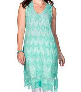 sheego elegantes Damen Spitzen-Kleid mit Stickereien in Mint Farben Große Größen – Bild 1
