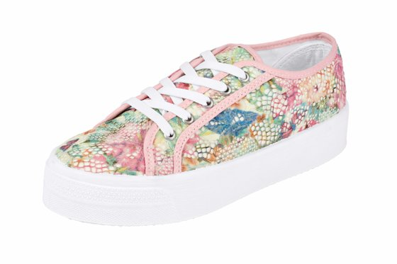 heine shoes chic ladies platform sneaker with floral lace pink white