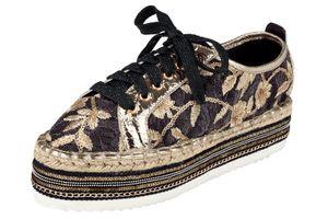 xyxyx Plateau Schnür-Schuhe ausgefallene Damen Schuhe mit Bouclé-Effekt Schwarz