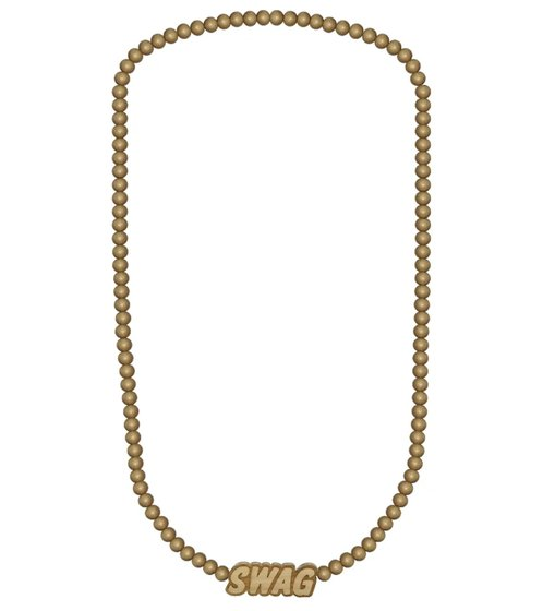 WOOD FELLAS fashion jewelry plain wood necklace with pendant swag beige