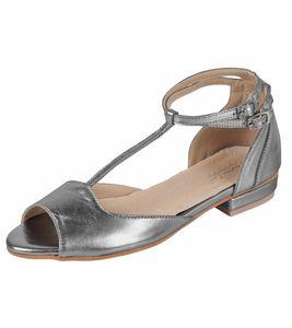 Andrea Conti Echtleder-Ballerinas modische Damen Schuhe im Metallic-Look Silber – Bild 1