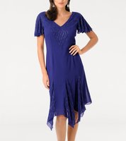 ashley brooke Cocktail-Kleid elegantes Abend-Kleid mit Zipfelsaum Blau