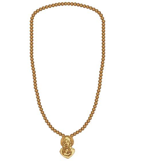 WOOD FELLAS bijoux de mode collier en bois à la mode avec pendentif Maria Beige