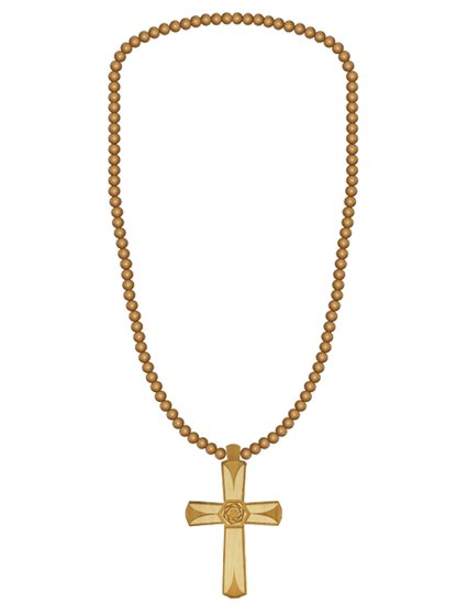 WOOD FELLAS fashion jewelry cool neck chain with large wooden cross pendant beige