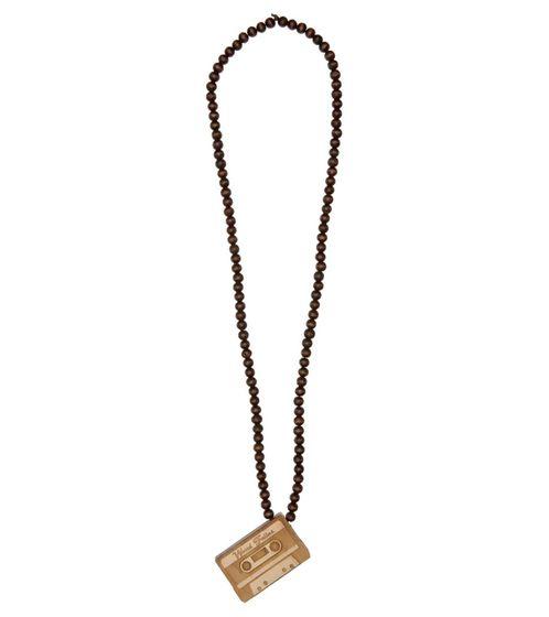 WOOD FELLAS Collier à la mode en bois avec pendentif cassette Marron / Beige