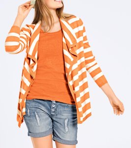 B.C. Best Connections Strick-Twinset angesagter Damen Cardigan mit Top Orange/Weiß