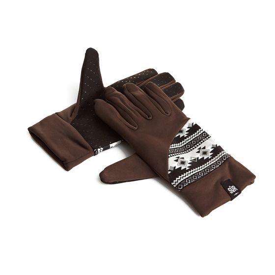 SÛR gants de ski gants d´hiver fonctionnels avec boutons Ethno brun
